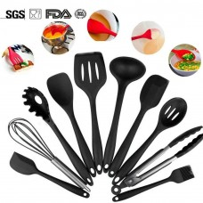10Pcs/set Silicone Heat Resistant Kitchen Cooking Utensils Non-Stick Baking Tool tongs ladle gadget (Black)